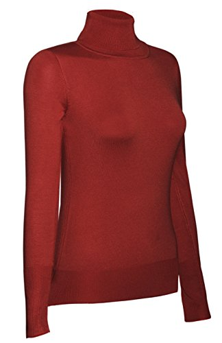 bodilove-womens-long-sleeve-fitted-turtle-neck-sweater-red-m-sw770