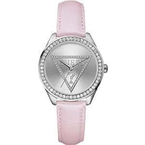 Guess - W65010L1 - Mini Triangle - Montre Femme - Quartz Analogique - Cadran Argent - Bracelet Cuir Rose