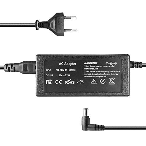 kj-vertrieb Ladegerät, Netzteil 100-240V für Fujitsu Lifebook, Stylistic, Panasonic Toughbook, Sony VAIO - 16V 3.75A 60W - 6mm x 4.4mm