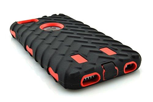 meaci (TM) Coque pour iPhone 6Plus 14cm cas 3en 1Pneu à rayures Combo hybride Defender High Impact Corps ArmorBox Coque rigide en silicone et PC Coque de protection pneu (Rouge)