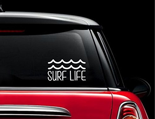 SUPERSTICKI® Surf Life Waves Aufkleber Decal Hintergrund/Maße in inch Vinyl Sticker|Cars Trucks Vans Walls Laptop| White |7.5 x 4.25 in|CCI630 - Surf Van