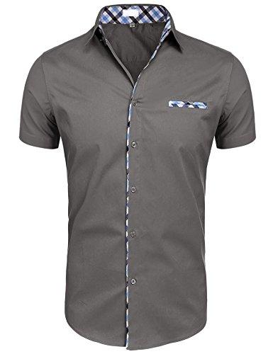UNibelle Herren Kurzarm Hemd Bügelleicht für Freizeit Business Slim fit bügelfrei Regular fit S-2XL Grau XXL