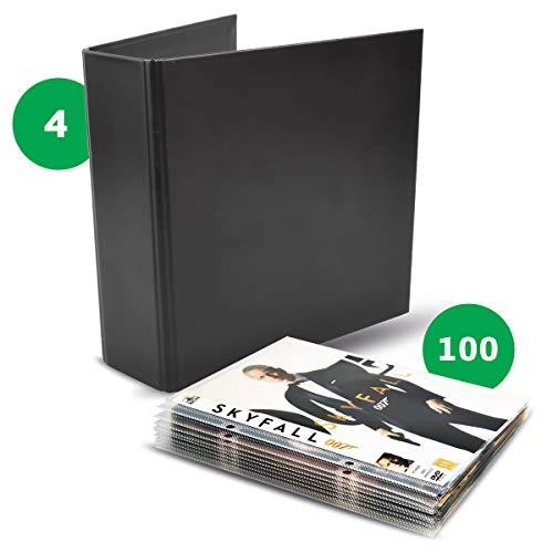 3L DVD Aufbewahrung - Kombipack mit 100 DVD Hüllen & 4 DVD Ordner - Praktisches Aufbewahrungssystem - 10264 - 3-jahres-dvd