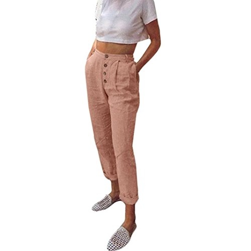 ITISME Jeanshosen Women High Waist Long Pants Solid Color Button Casual Pencil Pocket TrousersHerren Freizeit-Shorts Liam/Kurze Hose/Jogginghose / Sweatpants aus (Womens Sweatpant-sets)