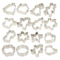 16 Pieces Christmas Cookie Cutters (Heart Gingerbread Man Snowflake Star Tree Bear Rabbit Bell House Shaped) DIY Fondant Cake Decoration for Kids Stainless Steel by KAISHANE