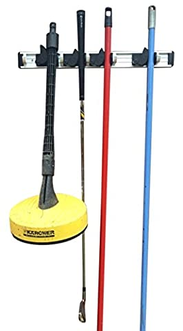 Mop and Broom Organiser 4-Slot Holder for Janitorial and Landscaping
