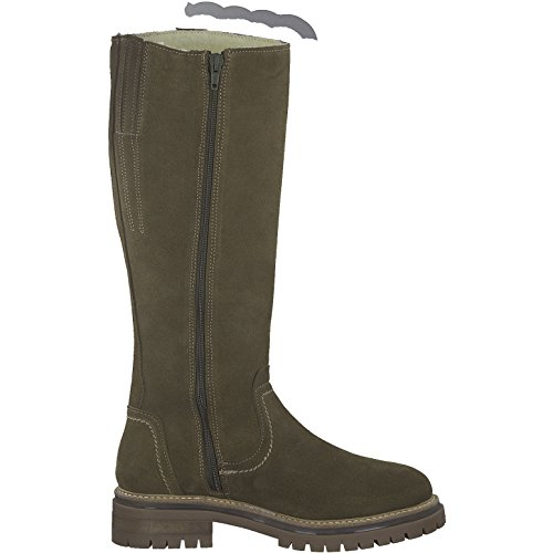 Tamaris Damen Stiefel 26617-21,Frauen Boots,Langschaftstiefel,gefüttert,Reißverschluss,Blockabsatz 3.5cm - 3