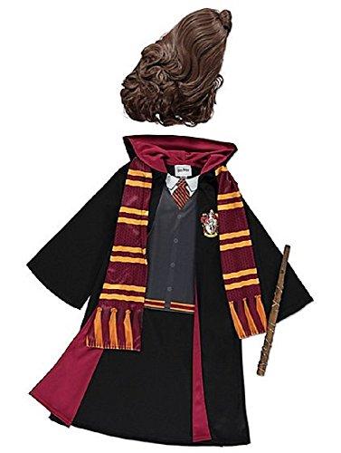 Mädchen Gryffindor Hermine Granger Kostüm Roben, Zauberstab, Schal und Perücke für das Jahr 5-12 (5-6)