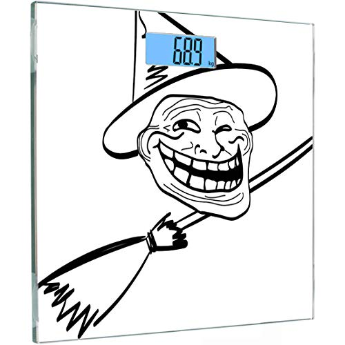 Ultra Slim Hochpräzise Sensoren Digitale Körperwaage Humor Gehärtetes Glas Personenwaage, Halloween Spirit Themed Hexe Guy Meme LOL Freude Spooky Avatar Kunstvolles Bild, Multicolor, Gegenlicht
