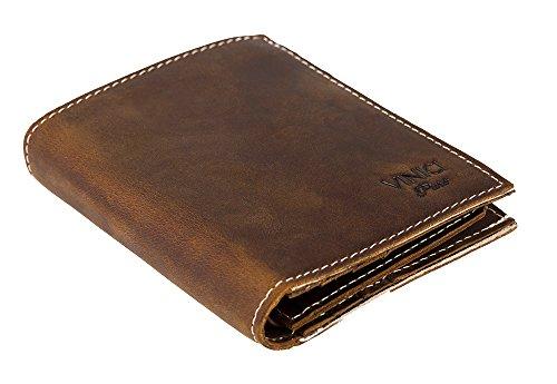 Kompakte Geldbörse Herren Leder in Vintage Optik und XXL Kartenhalter für 8-10 Karten I RFID Blocker I Geldbeutel und Brieftasche in einem [Vintage braun]