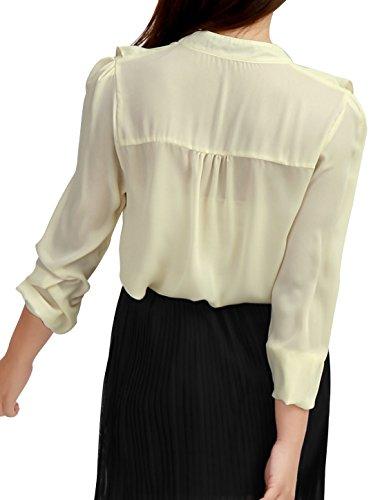 Allegra K Col Hérissé Agitation décoré Cravate Nœud Blouse pour Lady Beige