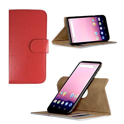 Handy Hülle für - Medion Life P5015 - mit 360 Grade Dreh und Standfunktion - 360° Nano M Rot