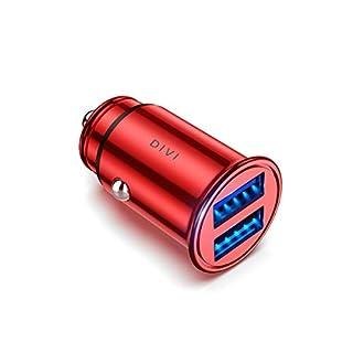 DIVI Auto Ladegerät, Metall Mini USB Auto Adapter 12V/ 24V KFZ Ladegerät 2-Port 24W 5V / 4.8A mit Aluminium-Legierung Gehäuse für iPhone XR/Xs Max, Samsung Galaxy S8, Huawei Und mehr (Rot)–MEHRWEG