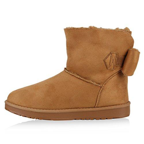Damen Schuhe Schlupfstiefel Boots Warm gefüttert Schleife Hellbraun
