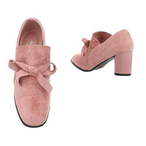 Scarpe da donna Stivali tacco gattino Ankle Boots Ital-Design rosa J-16