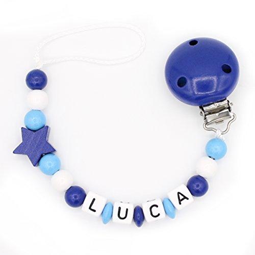 """Schnullerkette """"Mundspiel"""" mit Namen - Junge - dunkelblau - Geschenk zur Geburt oder Taufe (Luca)"""