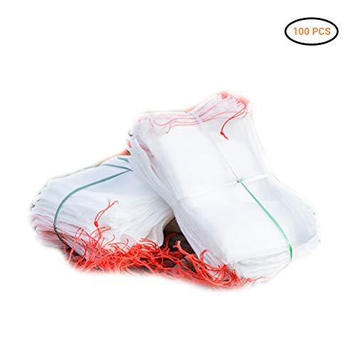 Ysoom Trauben Schutztasche, Nylon Netztasche für Garten, Blumen, Obst, Schutz vor Insekten, Moskitonetz, Pflanze Schutz Netz, Beutel mit Kordelzug für Garten und Bauernhof 100PCS (Tomate-schutz)