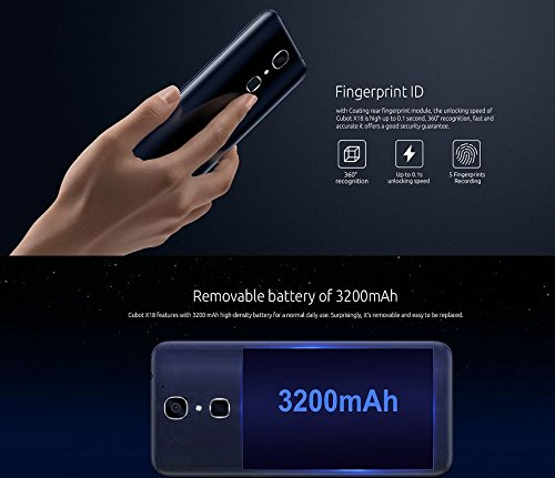 Cubot X18 Blue - Smartphone  13MP   16MP Dual Kamera  Quad Core 3GB RAM 32GB ROM  Fingerabdruck 3200mAh - Dunkelblau