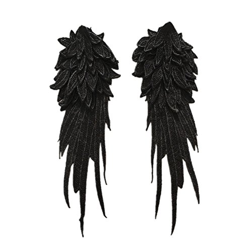 Wicemoon 1 Paar Engels Flügel Nähen Patch Kleidung Stickerei Zubehör Badge Aufnäher Aufkleber,Schwarz-S (Engel Und Nähen Kostüm)