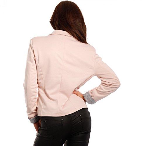 Damen Blazer aus leichter Baumwoll-Stretch-Qualität Business-Basic Kurzjacke Rosa