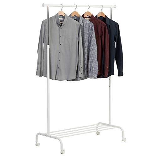 axentia Garderobe auf Rollen, Metall, höhenverstellbarer Garderobenständer, Kleiderstange mit Feststellbremse und Schuhablage, weiß Kleiderständer, one Size