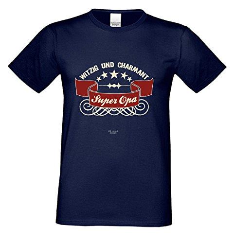 Kurzarm Sprüche Fun T-Shirt Super Opa Vatertagsgeschenk Geburtstagsgeschenk Weihnachtsgeschenk Farbe: navy-blau Navy-Blau