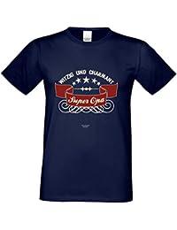 Kurzarm Sprüche Fun T-Shirt Super Opa Vatertagsgeschenk Geburtstagsgeschenk Weihnachtsgeschenk Farbe: navy-blau