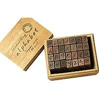28Pz estilo vintage alfabeto letras Número Símbolo sellos sello sellos caja de madera