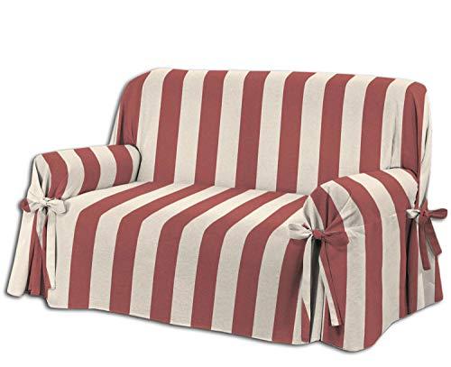 Centesimo Web Shop COPRIDIVANO Laccetti in 3 Misure E 4 Colori Tessuto Jacquard Righe Rigato Strisce - Due posti Rosso