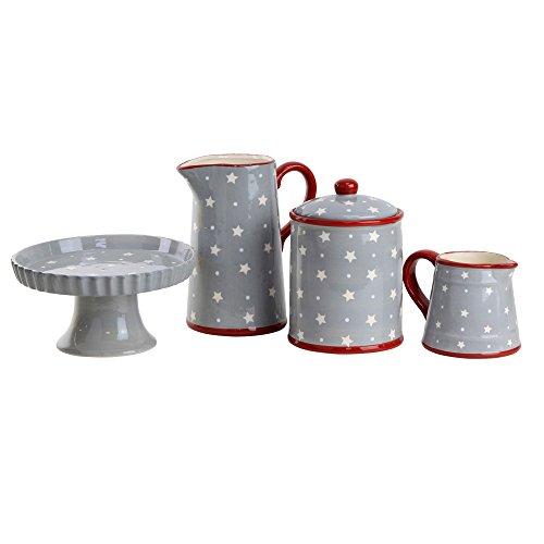 Kaffeeservice Set: Kuchenplatte, Milchkanne, Kekse Dose und Saft Krug Grau mit Weißen Weihnachts-...