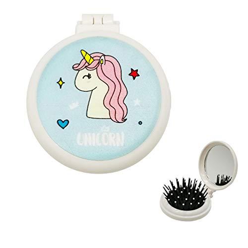 Unicornio mini cepillo pelo bolsillo plegable plástico