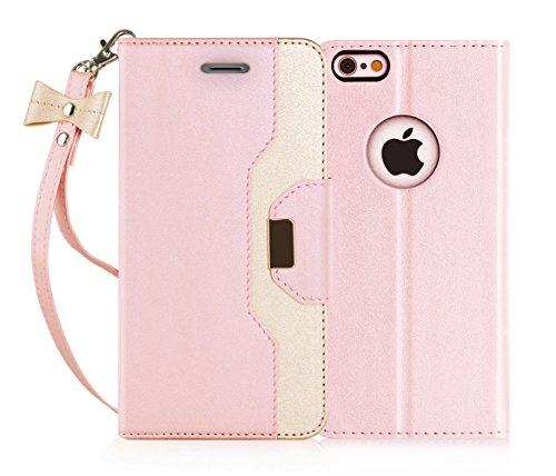 FYY iPhone 6S Schutzhülle, iPhone 6Fall, Premium PU Leder Wallet Case mit Kosmetik Spiegel und Schleife Strap für Apple iPhone 6S/iPhone 6(11,9cm), Kunstleder, Pink & Gold, 6 / 6S (4.7 inch) (Mit 6 Iphone Fall Schleife)