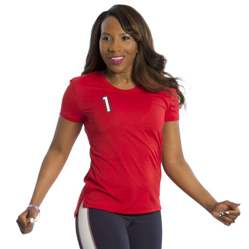 Zumba Fitness T-shirt de sport pour femme Couleurs des USA Rouge - Rouge Round the Keep