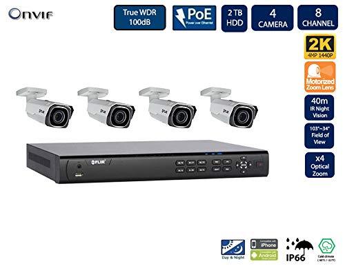 Flir Digimerge IP Security Kamera Sytem mit Dnr400P Serie 2 Festplatteneinschübe Nvr und Quad-HD-Motor 4 Mp (2K) mit Vandalismusschutz Kugelkamera (4 Einschuss Kameras mit 8-Kanal-2Tb NVR) Nvr-serie