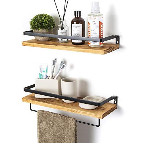 SODUKU - Estantes flotantes para montar en la pared para cocina, baño, juego de 2 estantes de carbonizado, color negro
