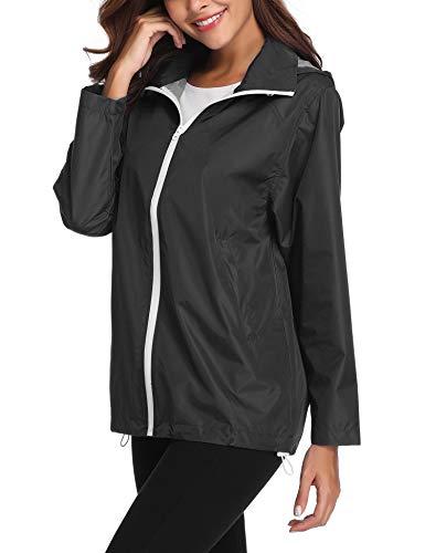 ZHENWEI Regenmantel Damen Wasserdicht Outdoorjacke Dünne Softshell Mantel Windjacke Windbreaker mit Kapuze in Kragen Gefaltet