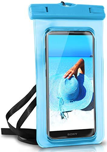 ONEFLOW® wasserdichte Handy-Hülle für alle Sony Xperia | Touch- und Kamera-Fenster + Armband & Schlaufe zum Umhängen, Blau (Aqua-Blue)