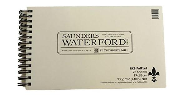dimensioni: 28 x 38 cm non 100/% cotone 25 fogli Saunders Waterford: Fat Pad-Blocco di carta per acquerello con spirale