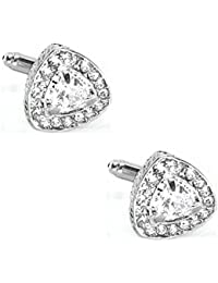 Triangular White Crystal Studded Cufflinks With Glossy Finish In A Velvet Gift Box For Men High Quality Zinc Alloy...