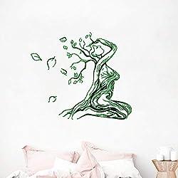 Mujer atada en un árbol abstracto de la vida etiqueta de la pared pegatina para mentes mágicas colección mística ideas de regalos de pared pegatinas fantasía verde 47x40 cm