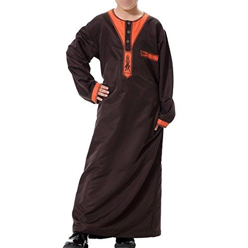 Hzjundasi Kinder Kurta Arabisch Islamisch Kostüme Ethnische Kleidung Jugend Robes Kids Jungen Dishdasha Muslim Thobe Volle Länge Türkei Mittlerer Osten Dubai Kandoura,TH872 (Kinder Kostüm Türkei)
