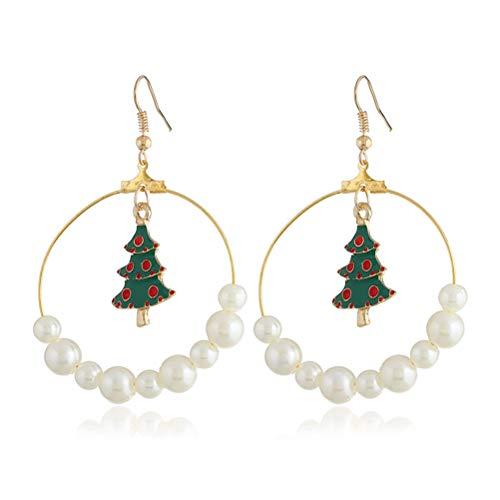 HKEPS Weihnachtsbaum Perlen Ohrringe Weihnachten Modeschmuck für Frauen -
