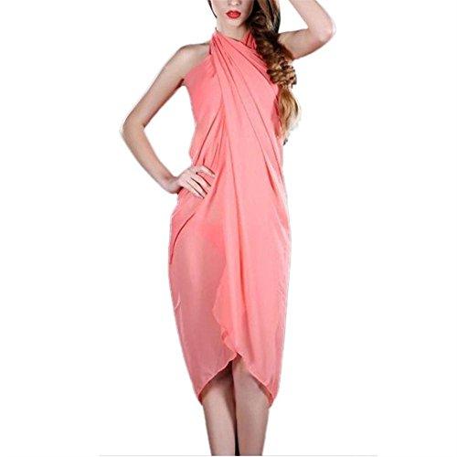 Hansee donne spiaggia coprire solido gonna bikini Swimwear Wrap asimmetrico da bambina, donna ragazza, 0814, Sky Blue Orange