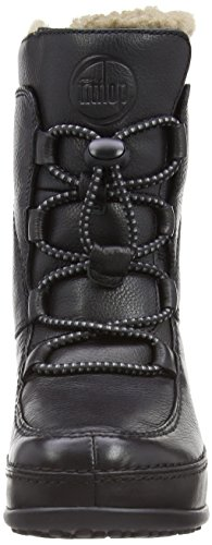 Fitflop Mukluk MOC Lace Up Leather Damen Stiefel Schwarz (Black)