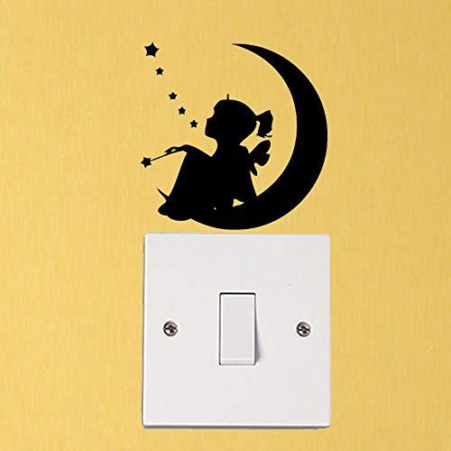 Preisvergleich Produktbild wonder4life Little Girl Sitting On The Moon Silhouette Decor Doorbell Switch Bedroom Wall Stickers Fashion Switch Stickers