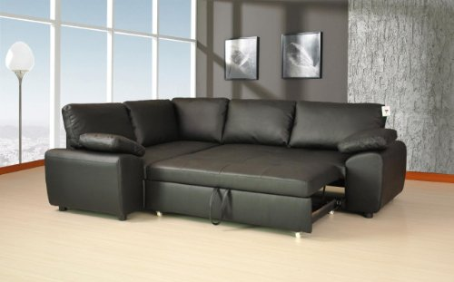 Lovesofas Enzo Bonded Leather Corner Sofa Double Sofabed With