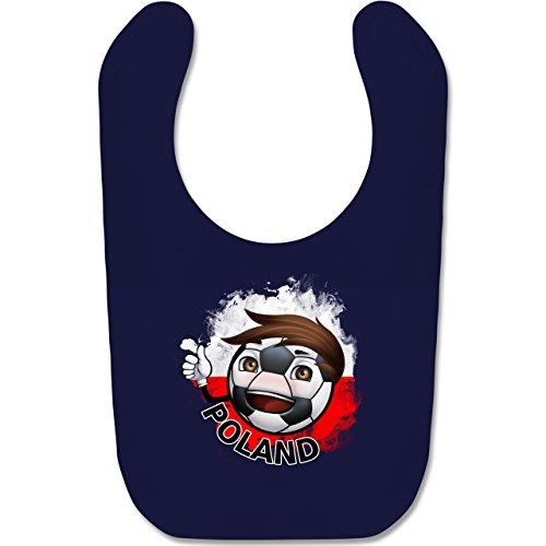 Navy Fußball-maskottchen (Shirtracer Fußball-Europameisterschaft 2020 - Baby - Fußballjunge Polen - Unisize - Navy Blau - BZ12 - Baby Lätzchen Baumwolle)