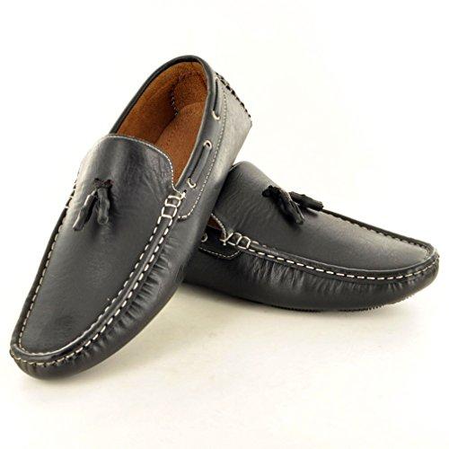 Herren Slip auf Loafer fahren Schuhe mit Quaste Detail Schwarz