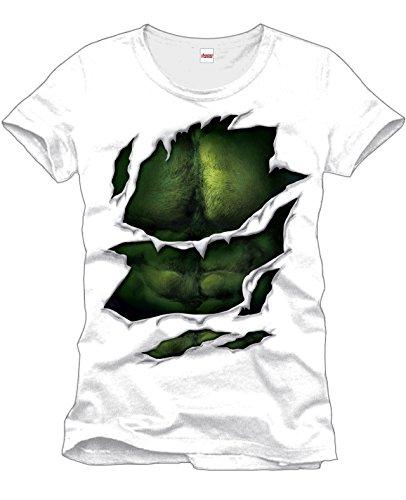 Hulk - T-Shirt Marvel con motivo Suit - Maglietta del super eroe degli Avengers con muscolatura del petto- Girocollo - Cotone - Bianco