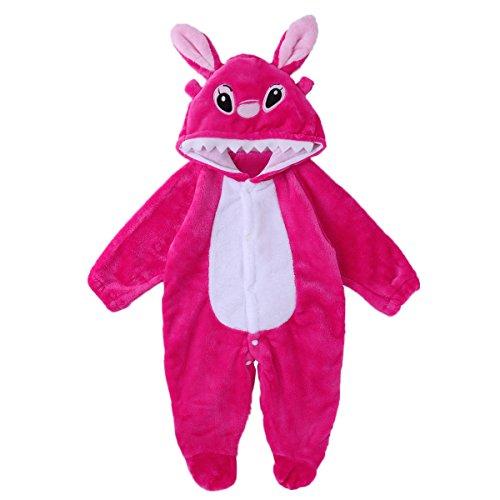 TiaoBug Baby Overall mit Kapuze Schneeanzüge Flanell Schlafanzug Jungen Mädchen Strampler Babykleidung Hasenkostüm 0-18 Monate in Pink, Blau Pink 50-56